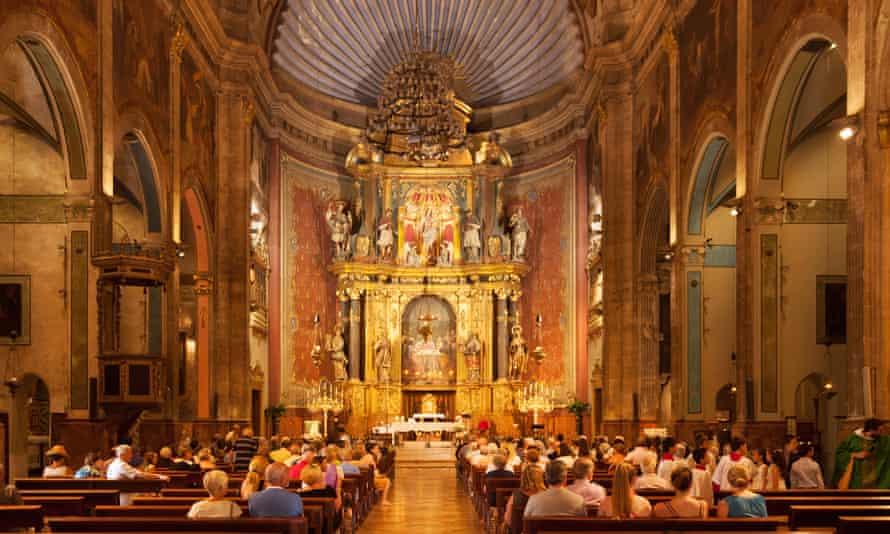 Interior of Església de Nostra Senyora dels Àngels (Our Lady of the Angles), Pollença, Mallorca, Spain.