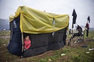 Asylum seekers wait near Edirne, close to Turkey's border with Greece