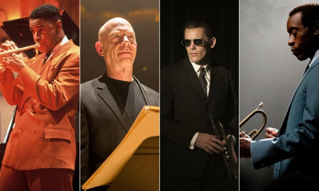 L to R: Mo' Better Blues, 1990 Denzel Washington as Bleek Gilliam Whiplash 2014, J.K. Simmons as Fletcher Born to be Blue, 2015 Ethan Hawke as Chet Baker Miles Ahead, 2015 Don Cheadle as Miles Davis
