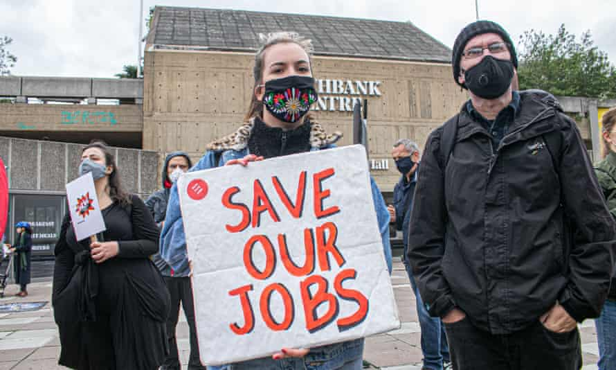 Protesters demonstrate outside the Southbank centre against job losses due to Covid-19.
