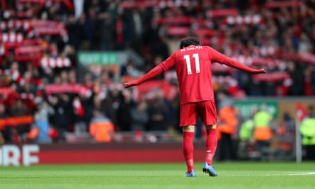 Mohamed Salah at a packed Anfield in early March