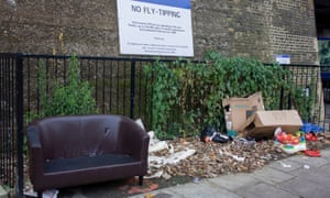 Fly-tipping left on a street in Lewisham, London