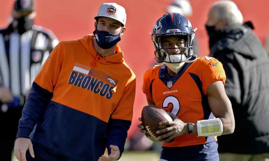 The Denver Broncos' Kendall Hinton, a wide receiver, started as the team's quarterback on Sunday