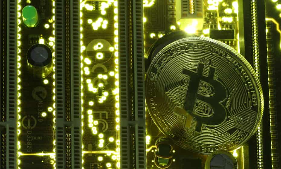 A bitcoin on a PC motherboard