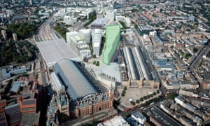 An aerial view marking Google's future London headquarters in King's Cross.