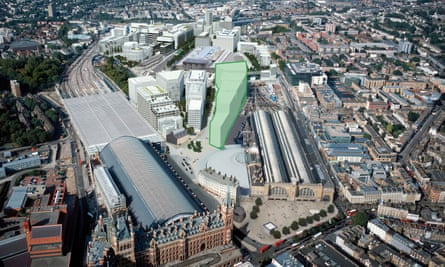 An aerial view marking Google's future London headquarters, situated between St Pancras and King's Cross train stations.