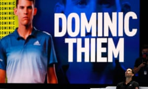 Dominic Thiem reacts after beating Rafael Nadal in two highly entertaining sets at the O2 Arena in London.