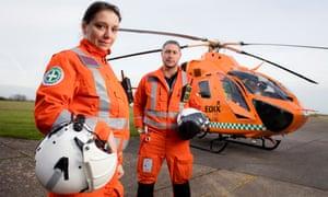 Raluca Treacy and Chris Hawkins of the Magpas air ambulance service based in Huntingdon, Cambridgeshire