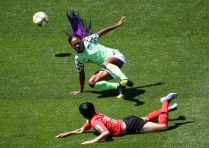 Francisca Ordega in action with Ji Soyun.