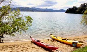 A break from sea kayaking in Queen Charlotte Sound in New Zealand's South Island