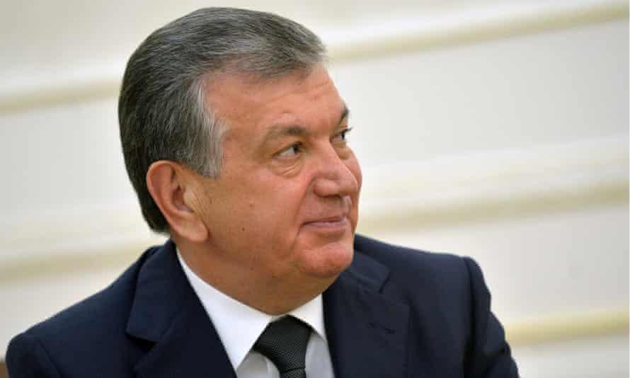 Shavkat Mirziyoyev pictured during a meeting with Vladimir Putin.