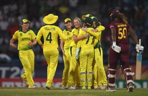Australia celebrate after Alyssa Healy stumps Hayley Matthews for five.