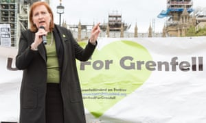 Emma Dent Coad speaks during a demonstration for the victims of the Grenfell Tower fire earlier this month