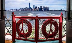 Manhattan seen from rear of  The Staten Island Ferry, New York