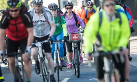 Cyclists on a cycle superhighway in London