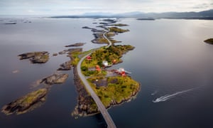 Storseisundet Bridge, pictured by a drone.
