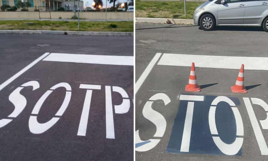 The road sign mistake and the correction posted on Facebook by the mayor of Sabaudia, Italy.