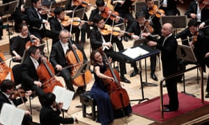 Poised … Sol Gabetta with NHK Symphony Orchestra and conductor Paavo Järvi.