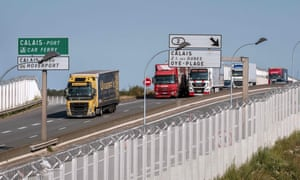 Lorries near the port of Calais