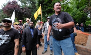 "Tusitala ""Tiny"" Toese addresses Patriot Prayer supporters after fighting broke out between counter-protesters on 3 June in Portland, Oregon."