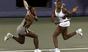 Serena Williams (left) and her sister Venus won 14 grand slam doubles titles all told, the first of them at the US Open in 1999.