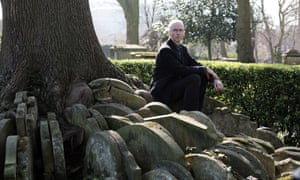 Jon McGregor by the 'Hardy tree' in St Pancras graveyard, London, growing from gravestones moved while Thomas Hardy worked there.