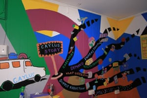 A mural on the wall of of Central Australian youth link-up service (Caylus) in Alice Springs describing its services.