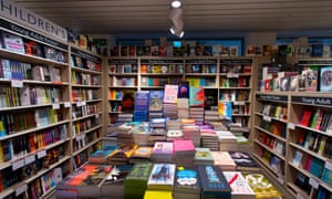 A general view of a collection of books on display in a Foyles bookshop in London