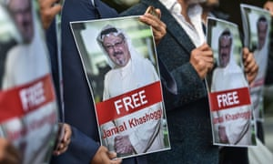 Demonstrators outside the Saudi consulate in Istanbul