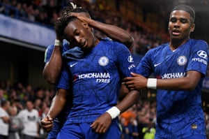 Callum Hudson-Odoi of Chelsea celebrates after he scores number seven.