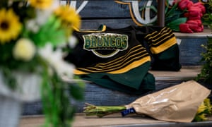 A tribute to the bus crash victims at the Broncos' home arena in Humboldt.