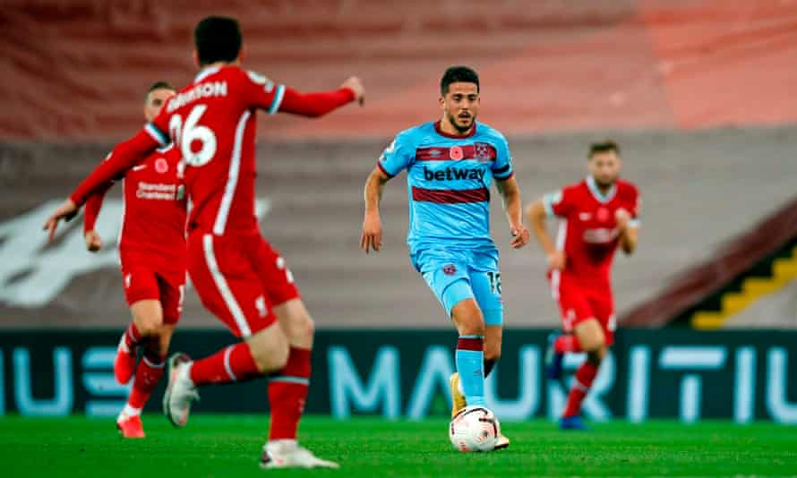 Pablo Fornals runs at Liverpool's defence. He has become more efficient in attacking midfield.