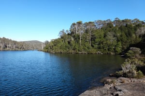 Lake Malbena and Halls Island in the Tasmanian Wilderness World Heritage Area.