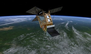 An artist's impression of Sentinel-5P in orbit above the Earth.
