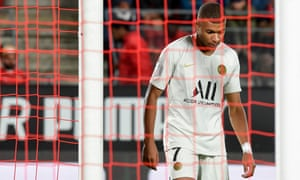 Kylian Mbappé shows his frustration after PSG's opening day defeat at Rennes