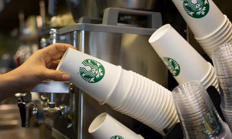 Paper coffee cups in Starbucks
