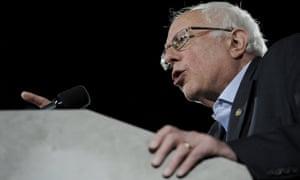 Bernie Sanders addresses supports at the University of Iowa in Iowa City.