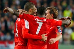 Switzerland's Valentin Stocker, who scored late, celebrates after the game.
