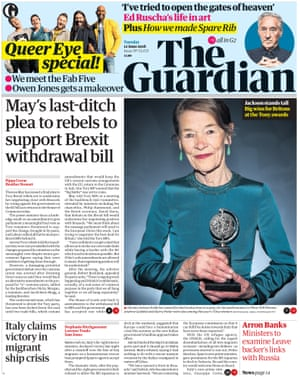 Guardian front page, Tuesday 12 June 2018