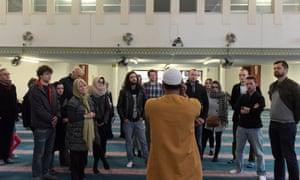 Inside East London Mosque.