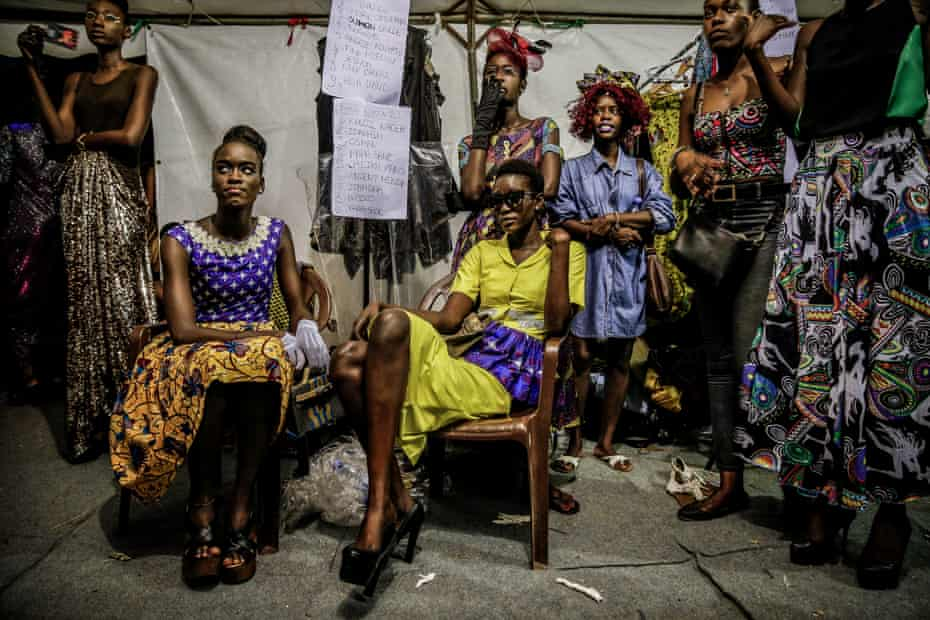 Models backstage during Dakar fashion week, June 2017