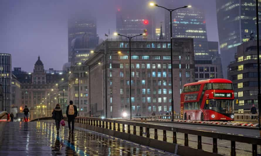 The City of London at rush hour during lockdown, January 2021