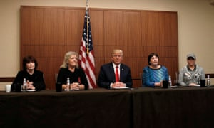 Donald Trump with (from left) Kathleen Willey, Juanita Broaddrick, Kathy Shelton and Paula Jones in October 2016.