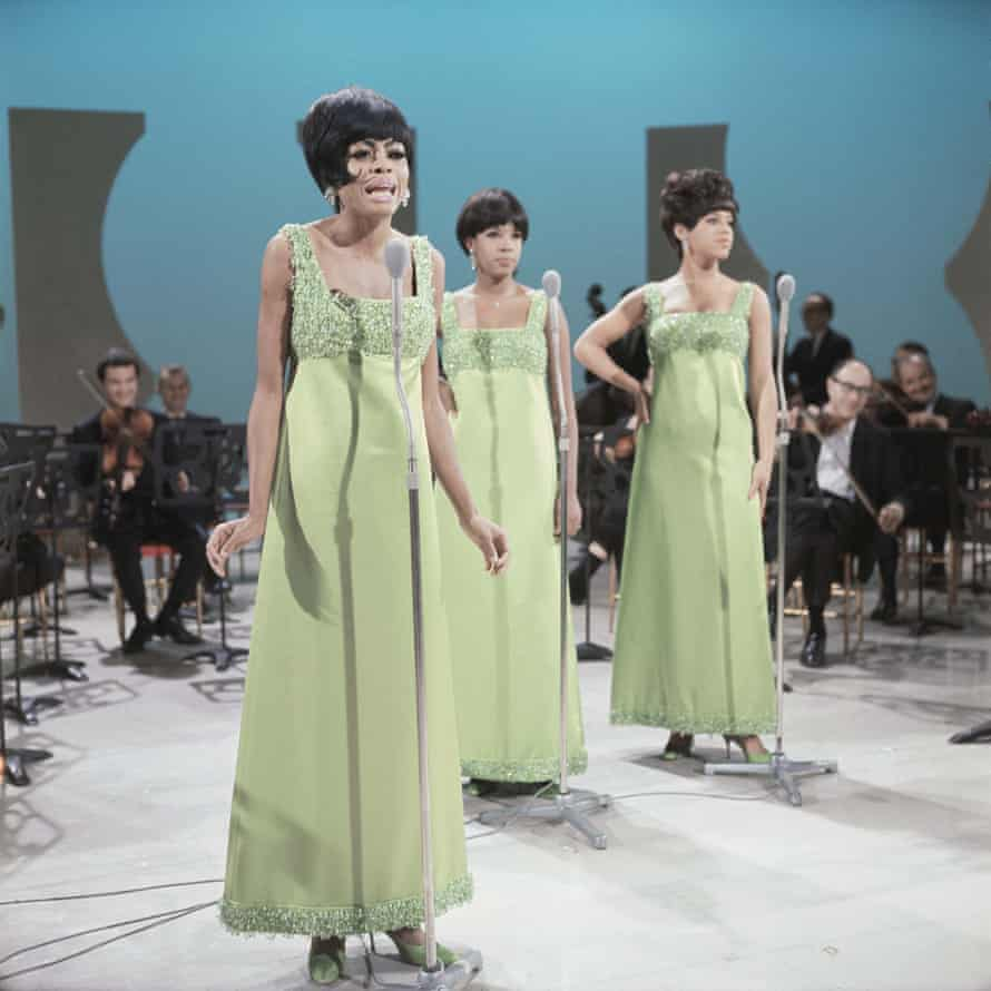 The Supremes recording in London, 1965, left to right: Diana Ross, Mary Wilson, Florence Ballard.