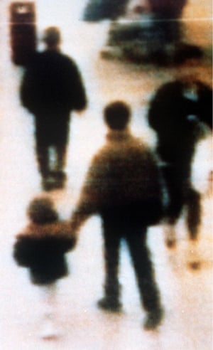 The CCTV footage from Liverpool's Strand shopping centre showing James Bulger being led away by his killers.