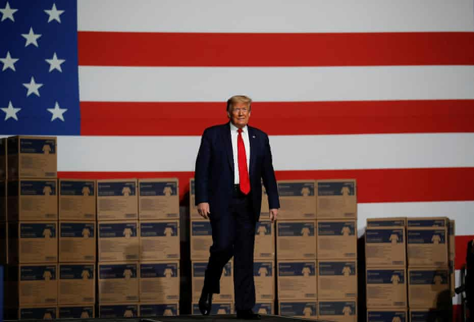Donald Trump visits a medical equipment distributor during his visit to Allentown, Pennsylvania.