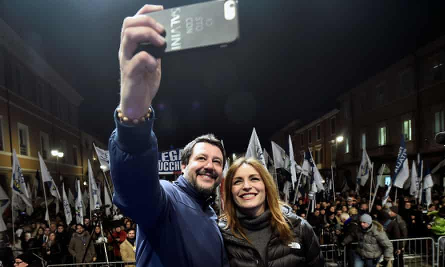 Matteo Salvini takes a selfie with Lucia Borgonzoni, the rightwing coalition's candidate for Emilia-Romagna