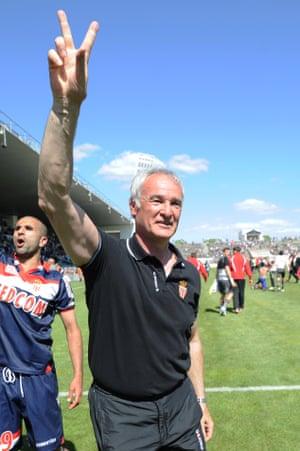 Claudio Ranieri celebrates Monaco's promotion from Ligue 2.