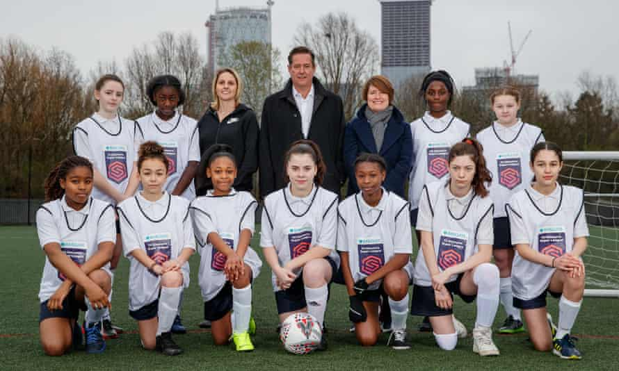 Kelly Simmons of the FA with the former Arsenal player Kelly Smith and Barclays' Jes Staley, with young players at the 2019 launch of the bank's sponsorship