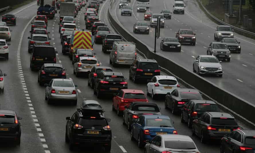Motorway traffic on the M25.